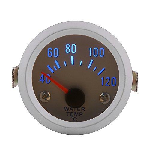 """Qiilu 52mm 2 """"Calibrador universal de la temperatura del agua para el motor del coche Digital Blue Temperatura del agua LED Calibrador de la temperatura 40-120 ℃ Gama"""
