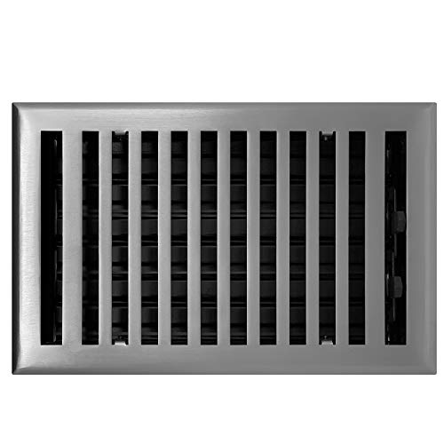 Madelyn Carter Contemporary Solid Brass 4' x 10' Floor Vent Cover, Brushed Nickel (Overall Size: 5-1/2' x 11-1/2')