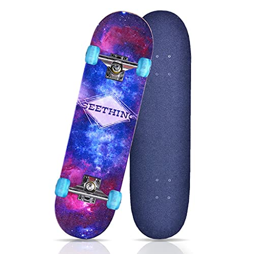 QUNHU Skateboard, Tablero Completo Skateboard 31x8 Pulgada Patinera de Crucero para niños Adolescentes Adultos, 7-caply Canadiense Doble Patada Cubierta (Estrella)