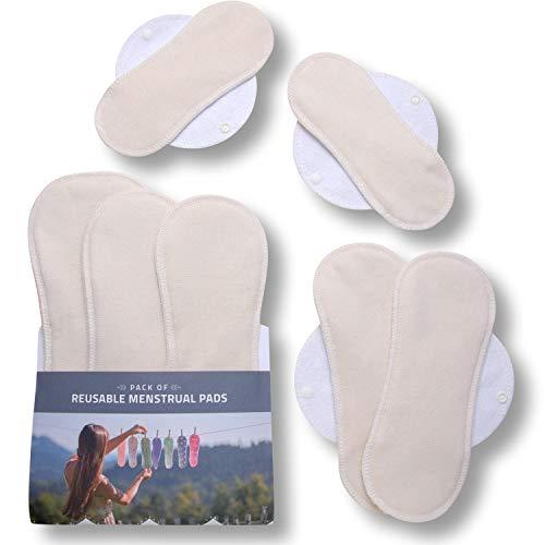 Waschbare Binden bio Baumwolle; 7er Pack (alle Größen) Stoffbinden waschbar MADE IN EU; kIeine & lange Binden wiederverwendbar mit Flügeln; wiederverwendbare Binden für Menstruation, starke Blutung