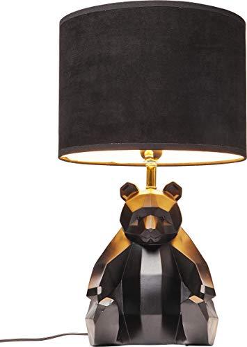Kare Design Tischleuchte Panda, Schwarze Tischlampe im Tier Design, Schwarzer Panda als Nachttischlampe, Runder Lampenschirm (H/B/T) 51,7 30,5 30,5