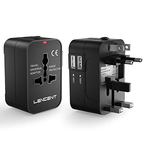 LENCENT Reiseadapter/Reisestecker für 150+ Länder, Universal Adapter, UK England/USA/EU Deutschland/AUS Stecker mit 2 USB Steckdosenadapter Stromadapter Steckdose