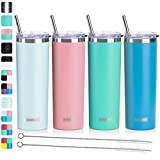 Koodee 20 oz Stainless Steel Skinny Tumbler(4 Pack) Double Wall Insulated Water Tumbler Cup with 4 Lids, 4 Straws and 2 Straw Brushes(Baby Blue/Pink/Sky Blue/Teal)