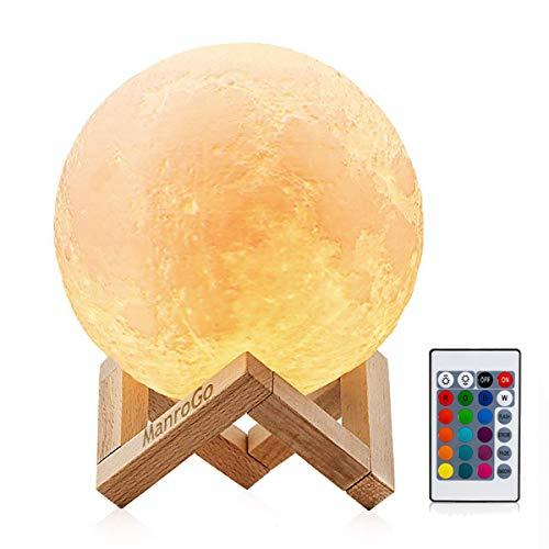 Lámpara Luna 3D, ManroGo Luz Nocturna Luna LED 12CM Control Remoto y Control Táctil 16 Colores RGB Brillo Regulable Recargable USB, Decorativa para Dormitorio Salón, Regalo para Mujeres y Niños