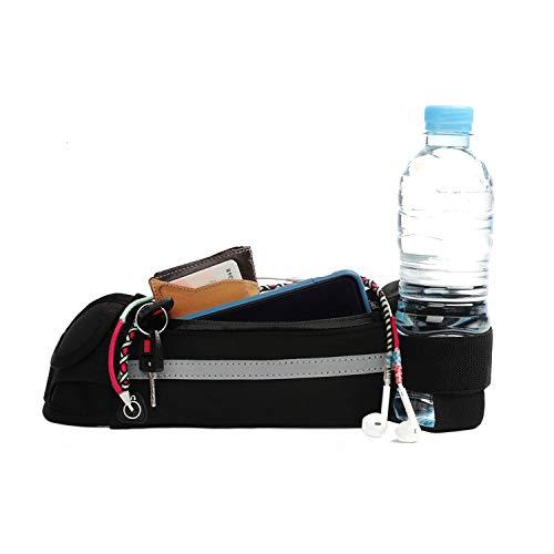 SwapGeo Riñonera Deportiva para Hombre y Mujer con Cintura Ajustable. Cinturón de Moda Negro para Running con portabotellas y Banda Reflectante. Ideal para móvil, Ciclismo y Moto