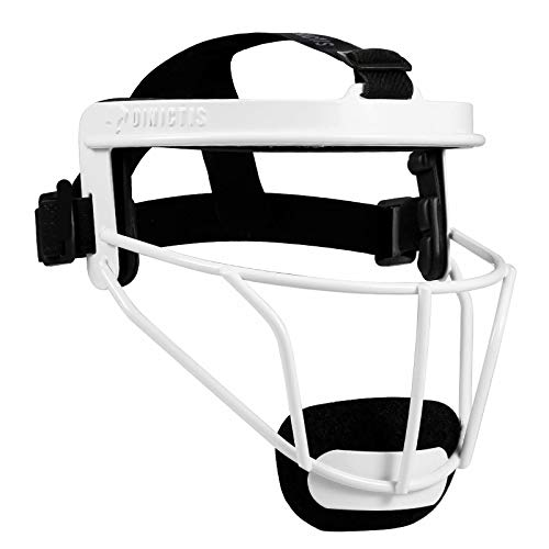 Dinictis Softball Face Mask, Broad Vision, for All Ages, Lightweight Durable Safe Fielder Mask, for Softball, Baseball, Teeball- White-Adult(L)