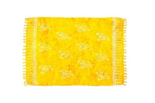 MANUMAR pareo mare donna opaco, telo mare sarong giallo solare con motivo delfino, XXL grande formato 225 x 115 cm,telo abito estivo in look hippie, bikini wrap cover up sauna lunghi beach dress