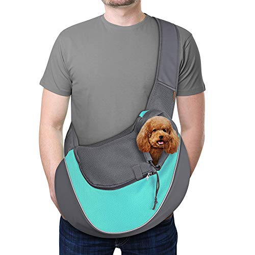YUDODO Pet Dog Sling Carrier Breathable Mesh Travel Safe Sling Bag Carrier for Dogs Cats (L(up to 14 lbs), Cyan)