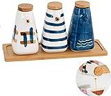 Botellas cerámicas Aceite Vinagre, con Bandeja de Madera, patrón Dibujado a Mano la Botella de Aceite de Oliva de la vinagrera para la Cocina