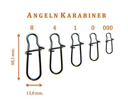 5 Stück Angel Karabiner Gr. 1.5 in Schwarz