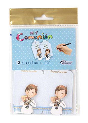 Edima - Bolsa con 12 etiquetas y lazo, Mi Primera Comunión DIY (410721-B)
