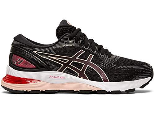 ASICS Women's Gel-Nimbus 21 Running Shoes, 8.5M, Black/Laser Pink