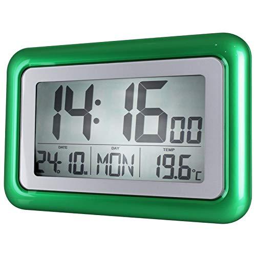 TW24 Funkwanduhr mit großer LCD-Anzeige und Standfuß Funk Wecker Digital Uhr Funkuhr Wanduhr Digitaluhr