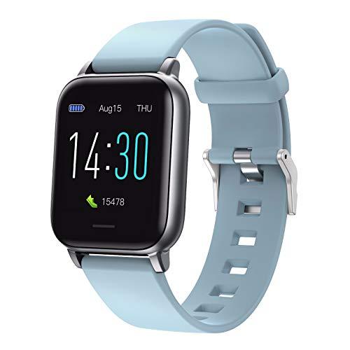 TONG 2021 1.3 Pulgadas SmartWatch Full Touch para Mujeres Mujeres, Smartwatch Impermeable, Sport Smartwatch, Monitor de Ritmo cardíaco para Mujer para Android Blue