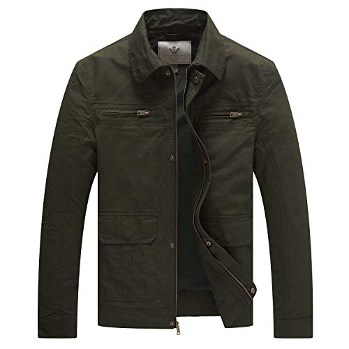 WenVen Men's Casual Outdoor Sportswear Military Jacket(Army Green,S)