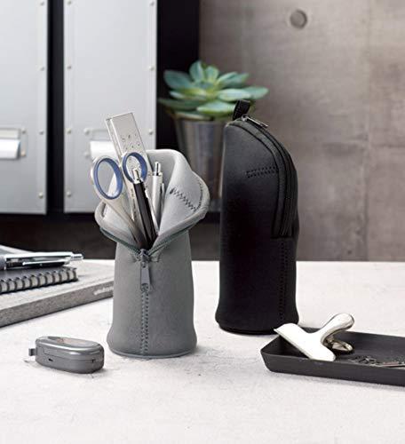 丸辰monotoneペンケース立てられるシンプルおしゃれな大容量入る筆箱マルチに使える!スタンドペンポーチグレー34016GY