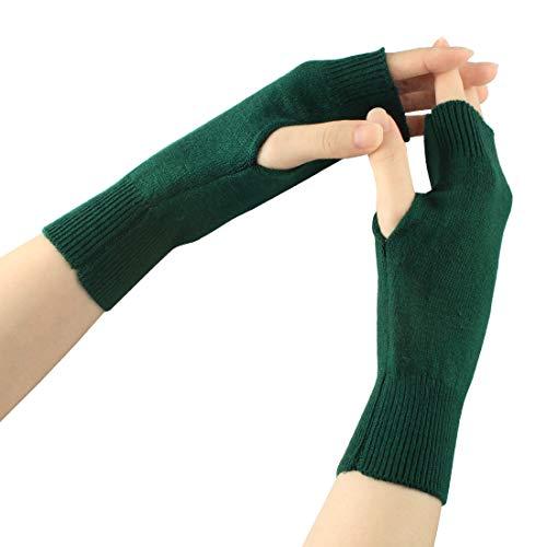 Larcele Kaschmir Handschuhe Fingerlose Fäustlinge Handwärmer für Damen BZST-02 (Dunkel Grün)
