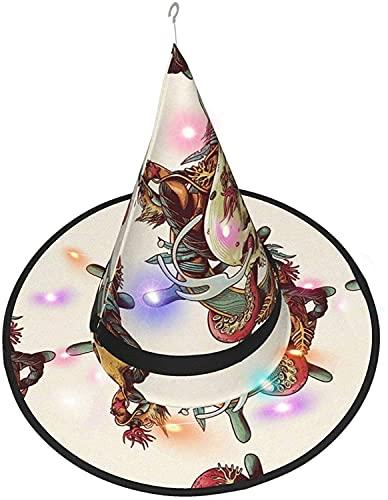 Bruja sombrero cráneo pulpo arte LED luminoso casquillo bruja sombrero cadena luces Halloween decoración para patio exterior interior árbol negro