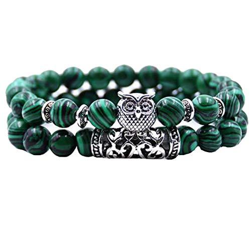 Hombres Mujeres 8mm Pulsera De Piedra Natural Elástica Yoga Ágata Beads Bracelet Bangle