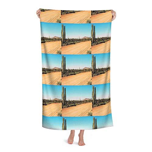 Camino de la tierra con plantas de cactus gigantes de secado rápido,Toallas de playa Toallas de baño de microfibra de gran tamaño,Toallas grandes para adultos