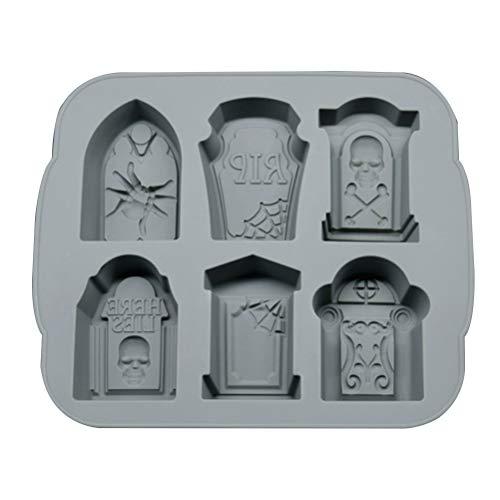 Molde de silicona para Halloween, diseño de cubitos de hielo, color gris