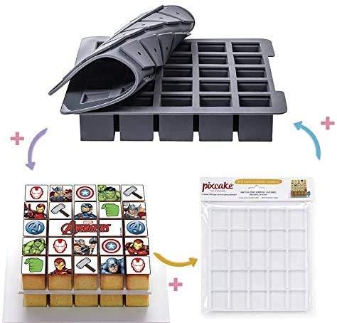 Pixcake - Le 1er Puzzle gourmand! - Kit Pâtisserie Avengers - Set Complet avec Moule Silicone Silikomart + 1 Décor Gâteau + Supports - Pixmoule Inclus