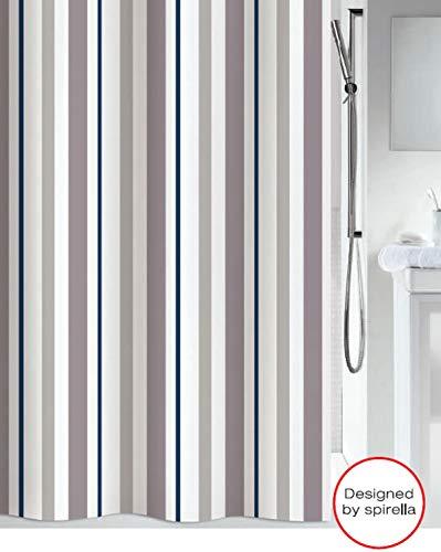 Spirella Anti-Schimmel Duschvorhang Biarritz Anti-Bakteriell, waschbar, wasserdicht Polyester/Baumwolle 180x200cm Streifen