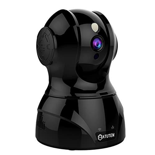 WiFi Cámara - Atuten HD 1080P Inalámbrico IP Vigilancia Camera Auto Giratorio,Audio Bidireccional,Visión Nocturna,Detección de Movimiento, Alarma para Hogar Monitor Baby (1080P, Negro)