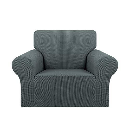 Jonist Stretch Chair Sofa Schonbezug 1 Stück Couch Sofabezug Waschbare Möbel Protector Soft mit elastischem Boden für Kinder, Pet.Jacquard Small Checked Pattern Stoff (Stuhl, grau)