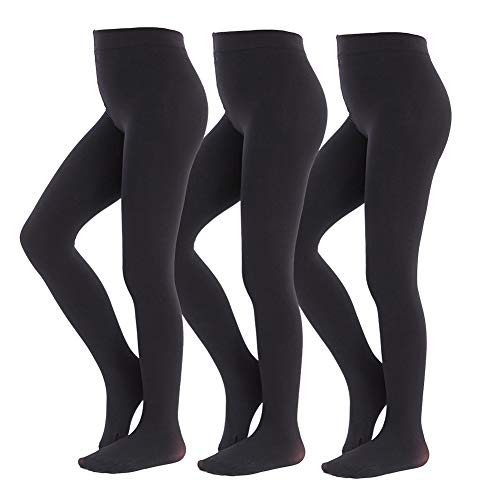 MANZI Ballet Tights for Girls Footed Dance Tights 3 Pairs Ultra-Soft Age 10-12 Black XX-Large