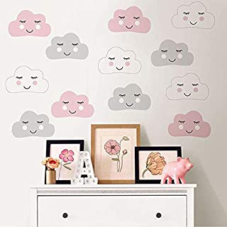 woopme Head in The Clouds Wall Art Kit Wall Sticker Kids Learning Cartoon Baby Room Removable Decal Nursery School (12 no...