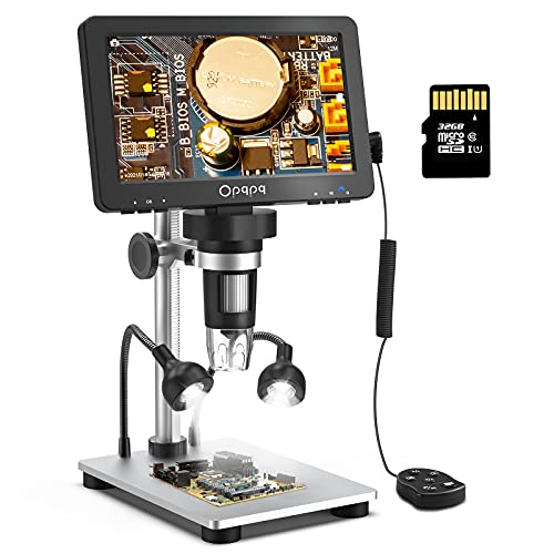 Opqpq 7'' Digital Microscope 1200X, 1080P LCD Microscope with LED Base Lights, Metal Stand, 32GB SD Card, Real Time Image for Adults Kids Observing Coins, Small Parts, Support Windows/Mac PC View