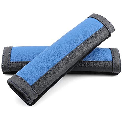 COFIT Mikrofaserleder Gurtpolster Strapazierfähige Autositzgurtpolster mit Komfortablem Schulterschutz für Ihr Fahren, 2 Stück, Blau und Schwarz