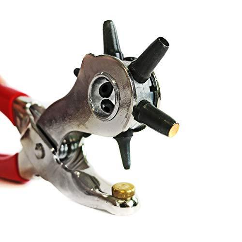 S&R Alicate Sacabocados Agujeros Cuero y Cinturones MADE IN GERMANY Sacabocados con 6 punzones 2/2,5/3 / 3,5/4 / 5 mm