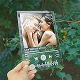 Placa Spotify Foto Personalizada | CristalSpotifyCancion Personalizada | Arte de Vidrio Metacrilato Tablero Musical Personalizado| RegalosPersonalizadospara Novio Novia 5.5'x 8.3'
