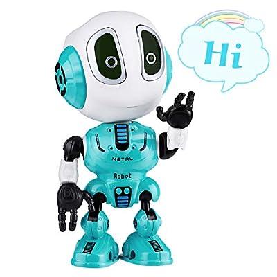 SnowCinda Robots Toy for Kids - Metal Talking Robot Kit with Sound & Touch Sensitive LED Eyes Flexible Body, Mini Smart Interactive Educational Toys
