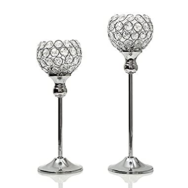 VINCIGANT Sparklers Silver Crystal Candle Holders/Wedding Candelabra Dining Room Coffee Table Decorative Centerpiece,Set of 2