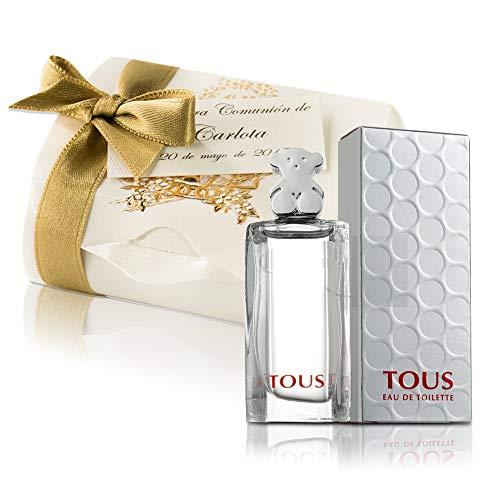 Set mini colonia Tous Comunion mini perfume original de mujer como detalles con cajita y tarjeta Eau de toilette 4,5 ml. personalizados para regalar invitados primera comunión y bautizo