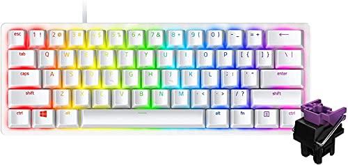 Razer Huntsman Mini 小型 ゲーミングキーボード Mercury White - Clicky Optical Switch 英語US配列 60%レイアウト 光学スイッチ 超高速1.5mm作動 クリッキー触感 Chroma RGB 【日本正規代理店保証品】 RZ03-03390300-R3M1