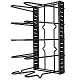 Eaarliyam Pot Organizzatore Metallo Pan Coperchio Rack Multi-Funzionale Cucina Rack di stoccaggio di Supporto Regolabile Mestoli Storage Cucina scaffale Nero