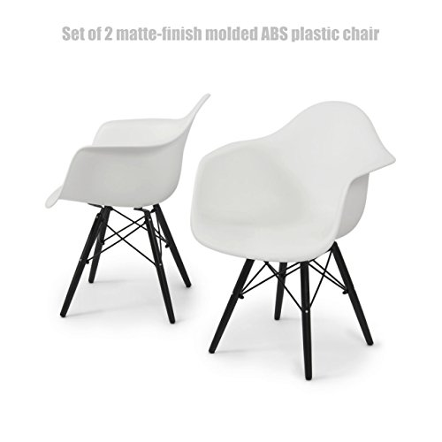 Modern Molded ABS Plastic Dining Chair Wooden Dowel Legs Posture Support Backrest Design Innovative Side Chair - Set of 2 White/ Black Finish Wooden Legs #1443