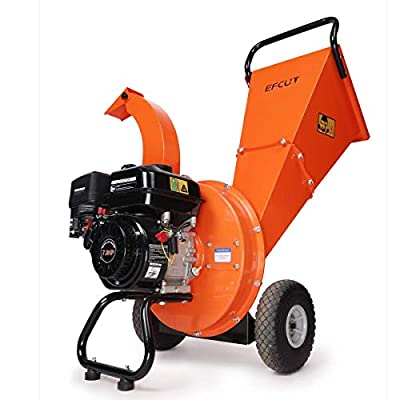 EFCUT C30 Wood Chipper Shredder Mulcher 7 HP 212cc Heavy Duty Engine Gas Powered 3 inch Max Wood Diameter Capacity Reduction Ratio 20:1 2-Year Warranty, EPA Certified