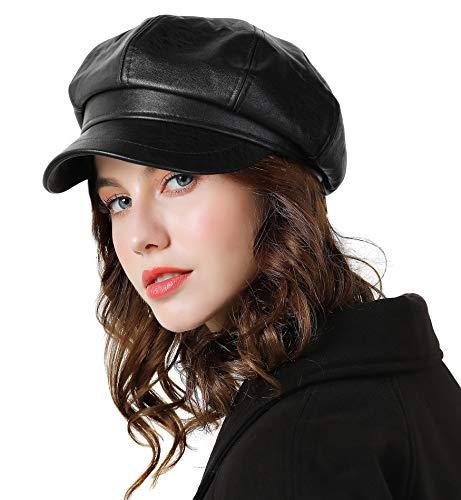 Genfien Sombrero para Mujer Boina de Cuero Gorro Vendedor de Periódicos Grueso Elegante Ligero Vintage Moda Vida Cotidiana Otoño Invierno