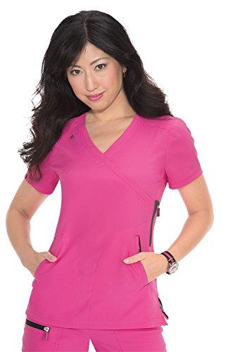Blusa feminina Koi Lite leve e atlética Philosophy Scrub, Flamingo/Aço, XS