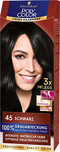 SCHWARZKOPF POLY COLOR Creme Haarfarbe Coloration 45 Schwarz, 1er Pack (1 x 115 ml)