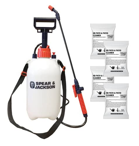 Spear and Jackson - 4 x 100ml Path and Patio Cleaner sachets - 5L Pressure Sprayer - Super Concentrated Patio Cleaner - Makes up to 5L per sachet