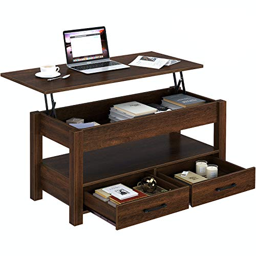 Rolanstar Coffee Table, Lift Top Coffee Table with Drawers and Hidden Compartment, Retro Central Table with Wooden Lift Tabletop, for Living Room,Espresso
