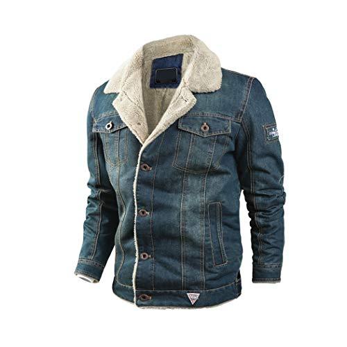 Raylans Herren Denim Jeansjacke mit Fellkragen Jacke Mantel Winterjacke Wintermantel Cowboy Jack für Winter