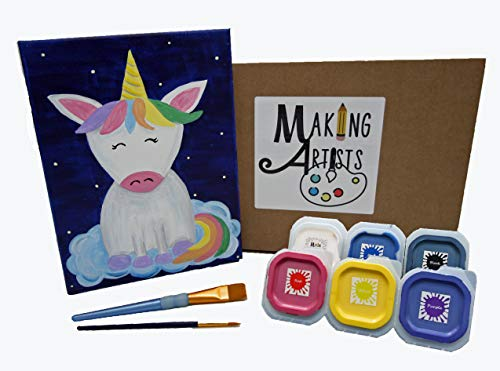 Unicorn Wishes- Acrylic on Canvas Painting Lesson, Complete Art Kit, Great Gift for Ages 6 and up, Step by Step Written and Video Instruction Included. Best Art Kit, Learn How to Paint
