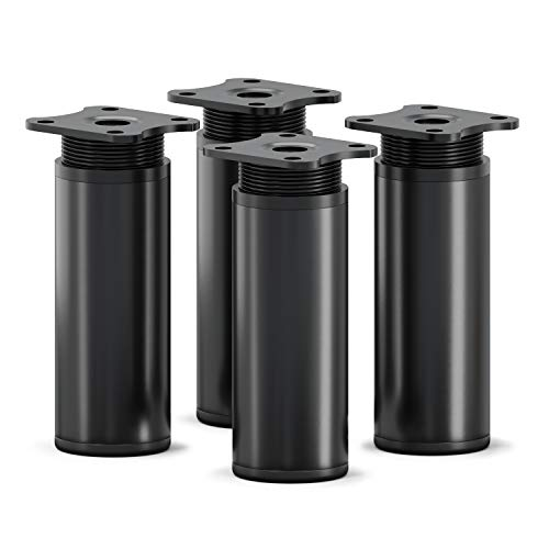 sossai® Patas para muebles MFR1 | 4 piezas | altura regulable | Diseño: Negro Mate | Altura: 100 mm (+20mm) | Perfil redondo: 40 x 40 mm |Tornillos incluidos